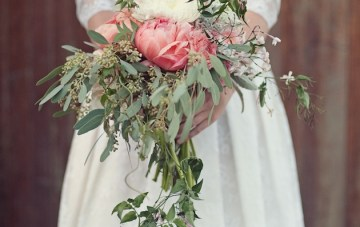 cascading coral peony bouquet