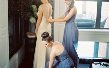 Donna Morgan Bridesmaids helping bride get ready