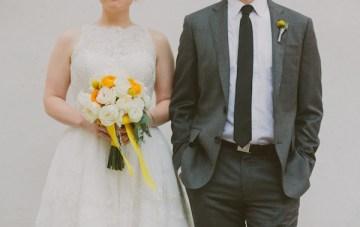 Retro Chic Grey and Yellow Garden Wedding