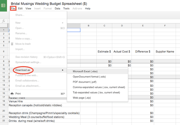 Wedding Planner Budget Template Beloved Blog