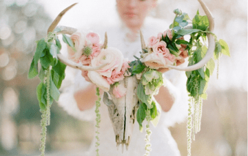 Whimsical Woodland Bridal Shoot + Antlers Adorned With Flowers