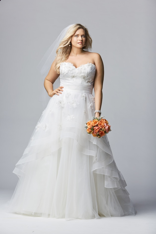 3b64bddd4c37 It's worth noting that ALL Watters and Wtoo wedding dresses are available  in sizes 0-24. Also, that fabulous pink, ruffly number in the photo above  is part ...