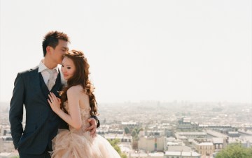 Chic Paris Engagement Shoot Featuring Two Stunning Vera Wang Wedding Dresses