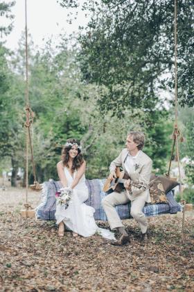 Bohemian Inspired California Wedding At Holly Farm: Cool, Musical, Bohemian Wedding (With A Campfire Singalong
