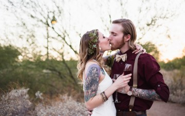 Romantic Desert Elopement Announcement