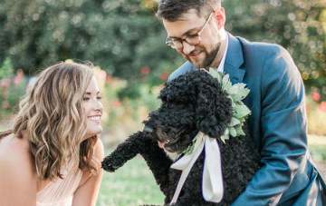 Sweet Garden Engagement Shoot (With a Freakin' Adorable Dog!)