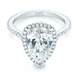 Custom Two-Tone Diamond Halo Engagement Ring by Joseph Jewelry