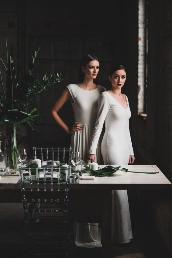 Moody & Modern Warehouse Wedding Inspiration by Jonathan Kuhn Photography 1