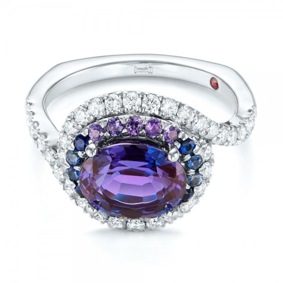 Custom Alexandrite, Blue and Purple Sapphire and Diamond Halo Engagement Ring