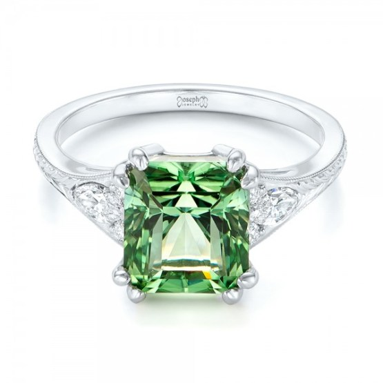 Custom Green Tourmaline and Diamond Engagement Ring