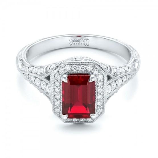 Custom Ruby and Diamond Halo Vintage Engagement Ring