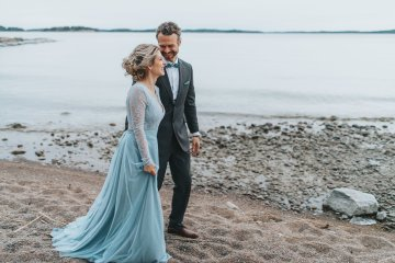 Stormy Scandinavian Wedding Inspiration Featuring a Dramatic Blue Gown | Snowflake Photo 11