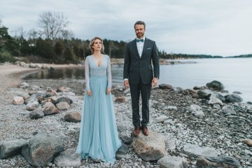 Stormy Scandinavian Wedding Inspiration Featuring a Dramatic Blue Gown | Snowflake Photo 14