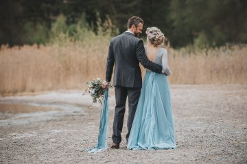 Stormy Scandinavian Wedding Inspiration Featuring a Dramatic Blue Gown | Snowflake Photo 2