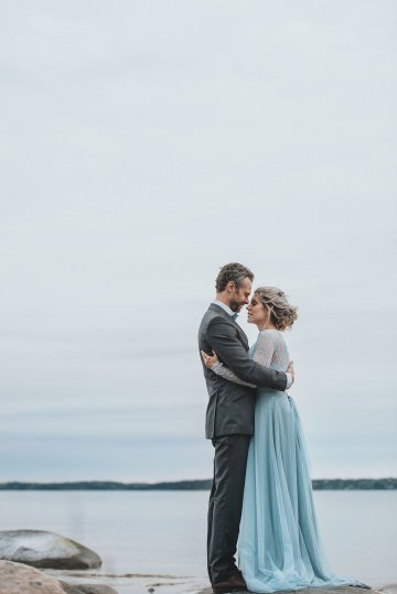 Stormy Scandinavian Wedding Inspiration Featuring a Dramatic Blue Gown | Snowflake Photo 42