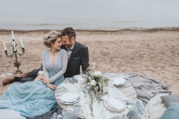 Stormy Scandinavian Wedding Inspiration Featuring a Dramatic Blue Gown | Snowflake Photo 51
