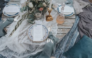 Stormy Scandinavian Wedding Inspiration Featuring a Dramatic Blue Gown | Snowflake Photo 8