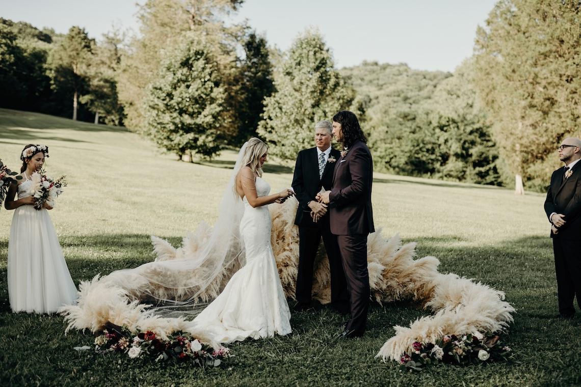 Cool Pampas Grass Wedding With Deep Berry Tones | Cedarwood Weddings 22
