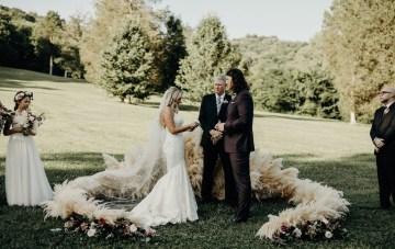 Cool Pampas Grass Wedding With Deep Berry Tones