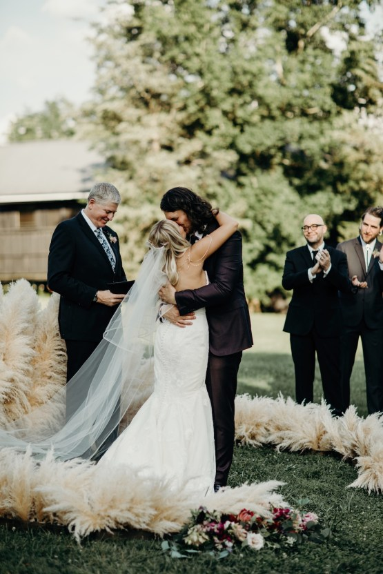 Cool Pampas Grass Wedding With Deep Berry Tones | Cedarwood Weddings 77