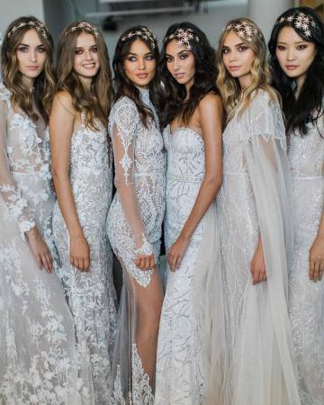 Starry Nights; Trendy Celestial Wedding Inspiration Board | Maria Elena Headpiece and Berta Gowns