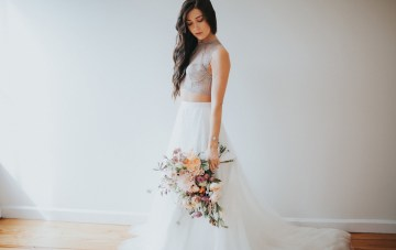 Light & Airy Peach Wedding Inspiration With Bridal Separates