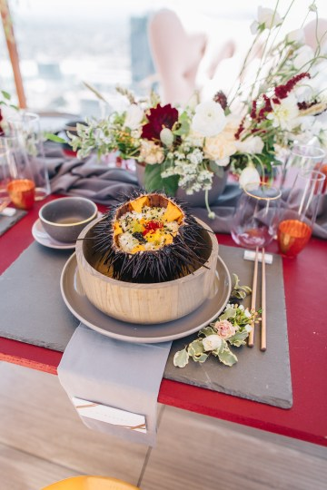 Modern Japanese Inspired Rooftop Wedding Inspiration (With Sushi & Uni, Yum!) | CCL Events | Christine Farah Photography 20