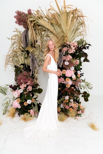 Modern Silk Gowns & Floral Wall Inspiration For The Hip Bride | Anastasia Fua elliftheartist 11