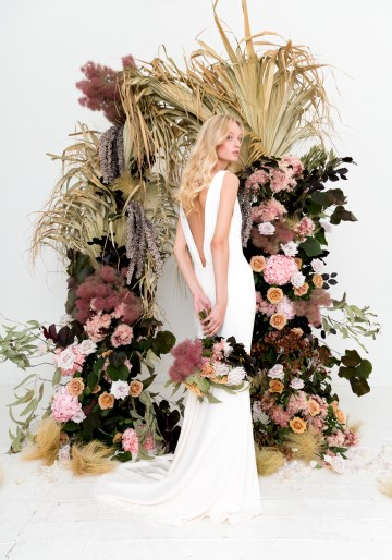 Modern Silk Gowns & Floral Wall Inspiration For The Hip Bride | Anastasia Fua elliftheartist 17