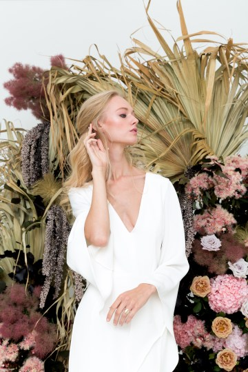 Modern Silk Gowns & Floral Wall Inspiration For The Hip Bride | Anastasia Fua elliftheartist 28