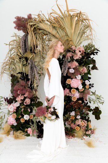 Modern Silk Gowns & Floral Wall Inspiration For The Hip Bride | Anastasia Fua elliftheartist 31
