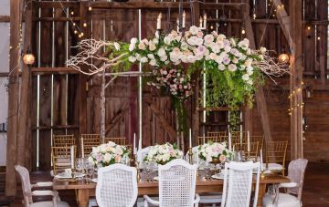 Romance In The Rain; Rustic Barn Wedding Ideas With Dramatic Florals