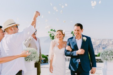 Classy Santorini Destination Wedding (With Amazing Caldera Views!) | Elias Kordelakos 42