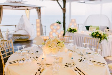 Classy Santorini Destination Wedding (With Amazing Caldera Views!) | Elias Kordelakos 48