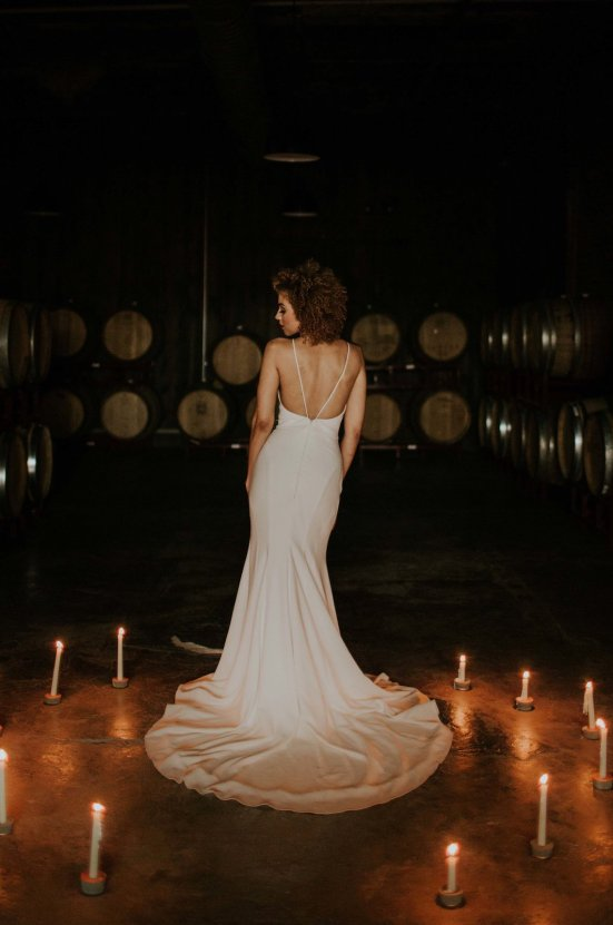Industrial Cool Meats Winery Warmth; Candlelit Wedding Ideas | The Gifford Collective | Genesis Geiger 23