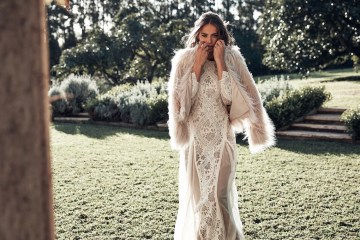 Free-Spirited Bohemian Icon Wedding Dress Collection by Graces Loves Lace | Unreal Fur Jacket
