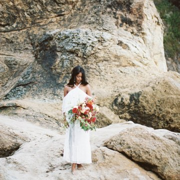 Artistic Burgundy & Fig Beach Wedding Inspiration | Rosencrown Photography 10