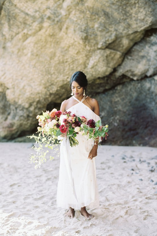 Artistic Burgundy & Fig Beach Wedding Inspiration | Rosencrown Photography 21