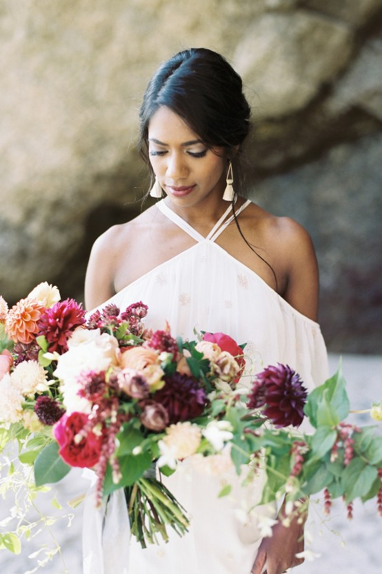 Artistic Burgundy & Fig Beach Wedding Inspiration | Rosencrown Photography 22