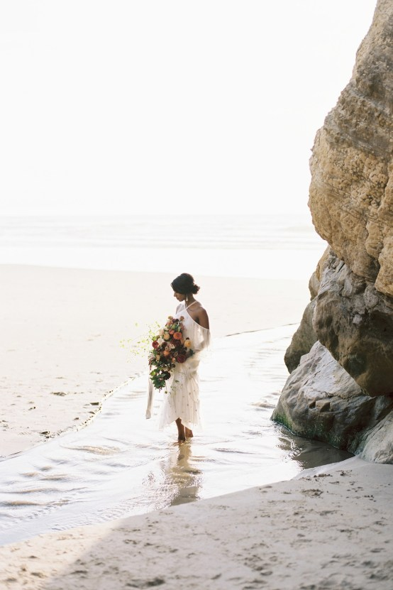 Artistic Burgundy & Fig Beach Wedding Inspiration | Rosencrown Photography 29