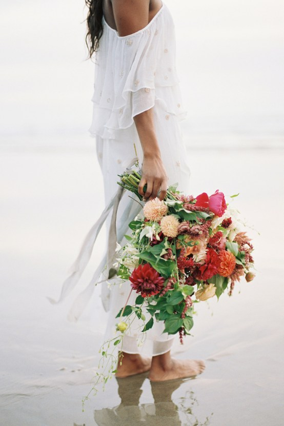 Artistic Burgundy & Fig Beach Wedding Inspiration | Rosencrown Photography 3