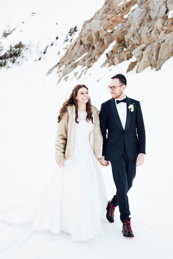 Charming Chamonix Winter Wedding With A Fur Coat – Katie Mitchell 18