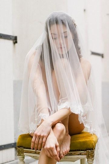 Elegant Blush Parisian Bridal Inspiration Featuring Luxurious Veils and Boudoir Ideas – Bonphotoge 39