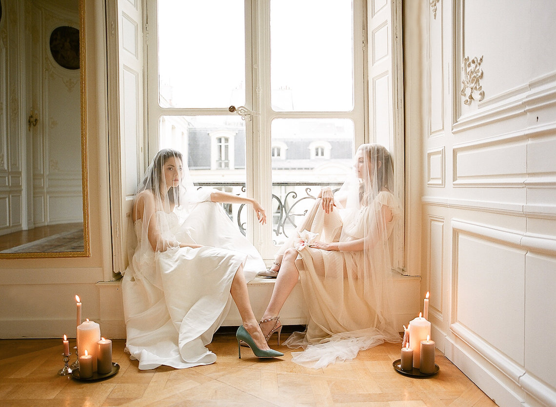 Elegant Blush Parisian Bridal Inspiration Featuring Luxurious Veils and Boudoir Ideas – Bonphotoge 71