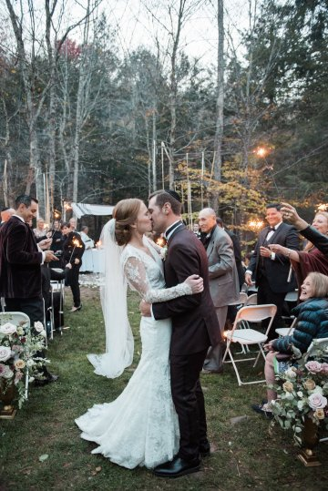 Warm Fall Catskills Wedding With Ceremony Sparklers – Christina Lilly Photography – Buds of Brooklyn 51