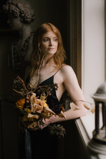 Dramatic Bridesmaid Inspiration With Fall Florals and A Black Jumpsuit – Georgina Harrison Photography 11