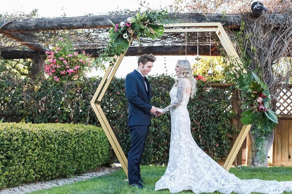 Metallic Copper Wedding Inspiration With A Creative Hexagon Altar – Allie Marion 47