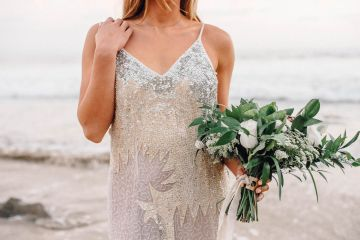 Romantic Same Sex Beach Elopement Inspiration in Earth Tones – Kalon Weddings Photography – Chloe Nicole Weddings 10