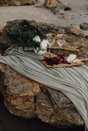 Romantic Same Sex Beach Elopement Inspiration in Earth Tones – Kalon Weddings Photography – Chloe Nicole Weddings 14