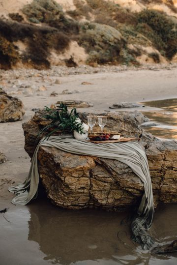 Romantic Same Sex Beach Elopement Inspiration in Earth Tones – Kalon Weddings Photography – Chloe Nicole Weddings 16